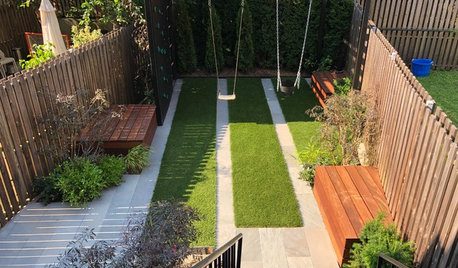 Modern Kid-Friendly Backyard With a Small Playground