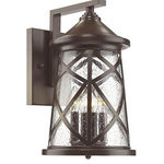 """Millennium Lighting - Millennium Lighting, 2503-PBZ, 10"""" 4-Light Outdoor Wall Bracket Bronze - 10"""" Four Light Outdoor Wall Bracket Powder Coat Bronze Clear Seeded Gla Shade Included: TRUE Number of Bulbs 4 Wattage: 60W BulbType: Candlebra Base Bulb Included: yes"""