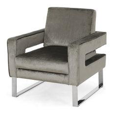 Kerman Modern Glam Velvet Club Chair, Gray/Silver