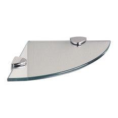 "Classic Chrome Glass Corner Shelf, 8""x8"""