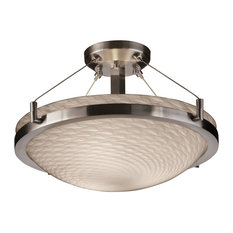 "Fusion Ring 18"" Semi-Flush Bowl, Round Bowl, Brushed Nickel, Weave Glass Shade"