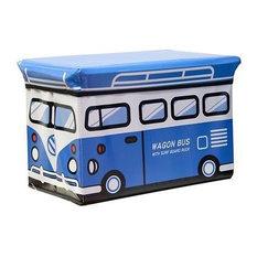 Kids Folding Ottoman Storage Seat Toy Box, Small, Wagon Bus