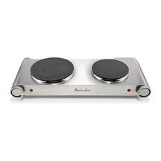 Double 1800 Watt Burner, Cast Iron Plates, Stainless Steel