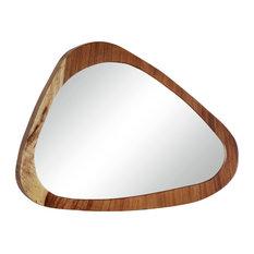"Large Ellipse Teak Wood Wall Mirror, 33"" x 24"""