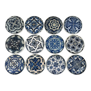12 Piece Set Blue and White Medallion Cabinet Knobs