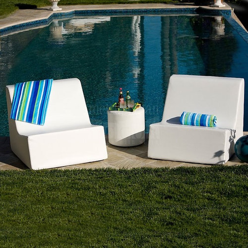 Check Settee Lounger | La Fete Design   Outdoor Lounge Chairs