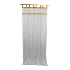 "Mogul Interior - 2 Sheer Organza Curtain White Golden Sari Border Drapes Panels, 48x96"" - Curtains"