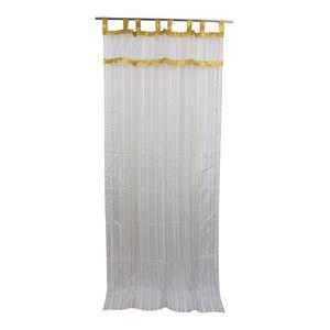 """Mogul Interior - 2 Sheer Organza Curtain White Golden Sari Border Drapes Panels, 48x96"""" - Curtains"""