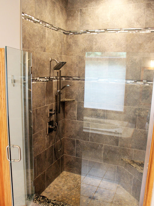 Master Bath Grey Tiled Shower And Quartz Countertops