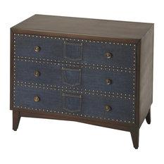 Console Chest Of Drawers Indigo Blue Cosmopolitan Antique Brass