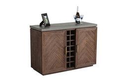 Modrest Amos Concrete and Acacia Wine Cabinet