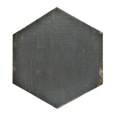 "14.13""x16.25"" Lambris Hex Porcelain Floor/Wall Tiles, Set of 9, Negre"