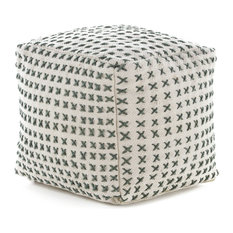 GDFStudio - Fender Gray Fabric Square Pouf Ottoman - Floor Pillows and Poufs