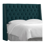 Queen Nail Button Tufted Wingback Headboard, Mystere Peacock