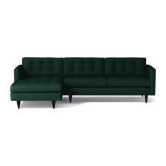 Beverly 2-Piece Sectional Sofa, Evergreen Velvet, Chaise on Left