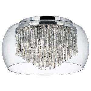 Curva Clear Glass Shade 4-Light Flush Ceiling Light With Aluminium Spiral Tube