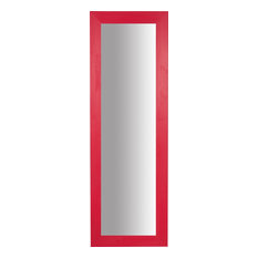 Distressed Lime Wood Full Length Wall Mirror, Red, 60x180 cm