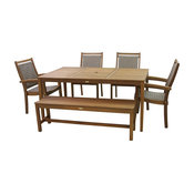 6-Piece Eucalyptus Dining Set With Gray Wicker Arm Chairs