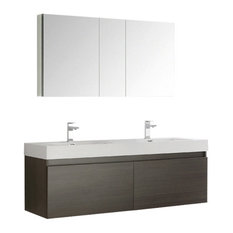 "Mezzo 60"" Gray Oak Wall Double Sink Bathroom Vanity Set, Savio Nickel Faucet"