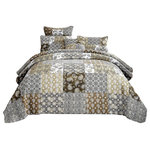 DaDa Bedding Collection - Bohemian Patchwork Moroccan Paisley Chocolate Dreams Bedspread Set, King - Dream softly with our boho paisley chocolate dreams patchwork quilted bedspread for a fresh new look added to your bedroom.