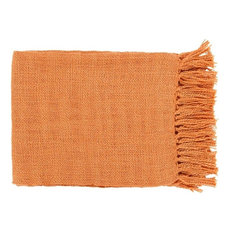 "Surya Tilda 4'11""x4'3"" Throw Blanket, Orange"