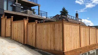 Cedar Fence and Retaining Wall