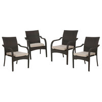 GDF Studio Florianopolis Brown Wicker Stacking Chairs, Set of 4