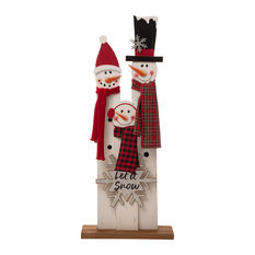 "35.43""H Wooden Snowman Family Porch Decor"