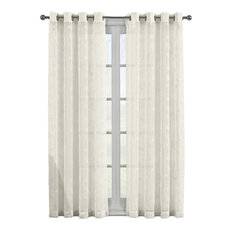 "Brook 2-PC Embroidered Grommet Sheer Panels, Beige, 108""x96"""