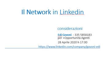 Il network di Linkedin consiste nel tracciare alcuni spunti per creare una rete