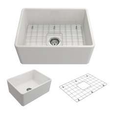"""Classico Farmhouse Kitchen Sink With Grid and Strainer, White, 24"""""""