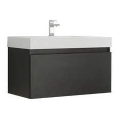 Fresca Mezzo 36-inch Black Wall Hung Cabinet With Integrated Sink