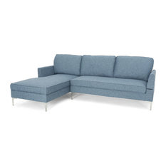 GDF Studio Miriam 3-Seater Fabric Sectional Sofa Set, Navy Blue Tweed/Silver