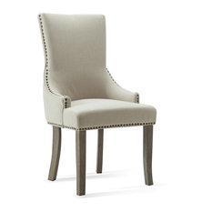 Wingback Chair, Beige Linen, Set of 2