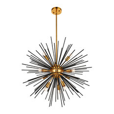 Daegan 10 Light Pendant in Light Antique Brass And Flat Black
