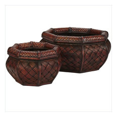 Nearly Natural Rounded Ocatagon Decorative Planters, Burgundy, 2-Piece Set