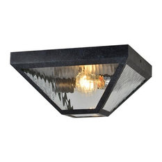 Glacier 2-Light Outdoor Flush Mount, Black Charcoal, Water Glass