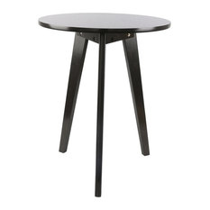 Anzy   3 Legged Solid Wood End Table, Modern Round Coffee Table, Coffee