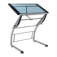 Triflex Drawing Drafting Standing Table, Silver/Blue Glass