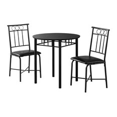Monarch Specialties I 1013 Home Kitchen 3 Piece Dining Set - Black Metal And Top