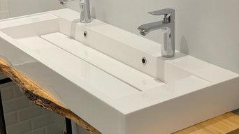 Double vasque sur planche en bois