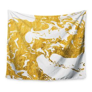 51 X 60 Kess InHouse Nick Atkinson Triangle Love Gray Gold Wall Tapestry