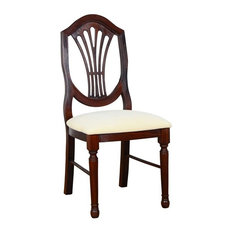 Beechwood Mountain Shieldback Dining Side Chair in Oak and Cream