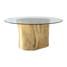 36-inchL Dining Table Log Base 60-inch Glass Top Gold Leaf Resin 844