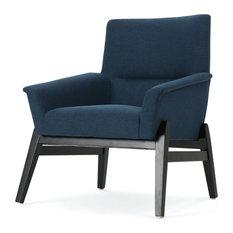 Leona Modern Charcoal Fabric Club Chair, Navy Blue