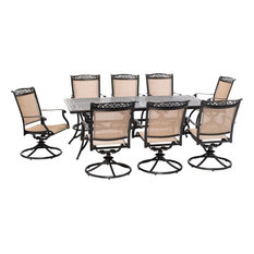 Fontana 9-Piece Outdoor Dining Set With 8 Sling Swivel Rockers