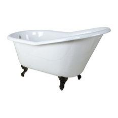 """60"""" Cast Iron Clawfoot Bathtub, Chrome, No, White/Feet in Chrome, White/Tub Feet"""
