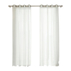 """Gathered Tulle Sheer Grommet Curtains, Pair, 84"""""""
