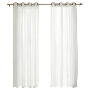 """Gathered Tulle Sheer Grommet Curtains, Pair, 96"""""""