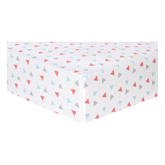 Trend Lab Coral, Gray, Mint Triangles Deluxe Flannel Fitted Crib Sheet
